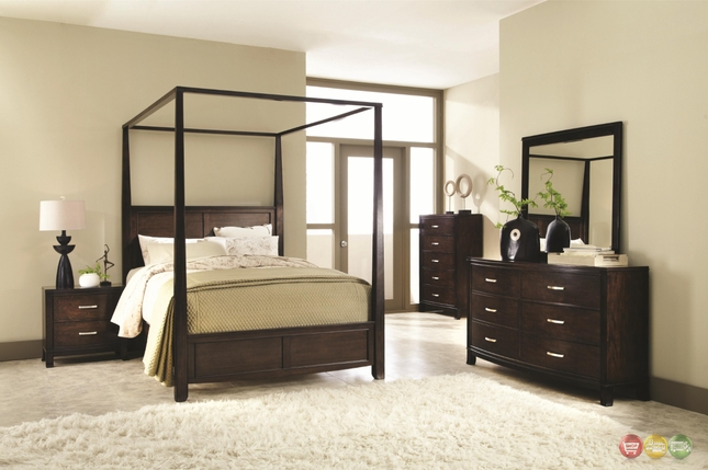 Carey Poster Canopy Bedroom Collection Walnut Finish Free