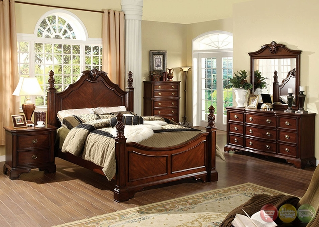 Carlsbad I Formal Dark Cherry Bedroom Set With Ornamental Designs