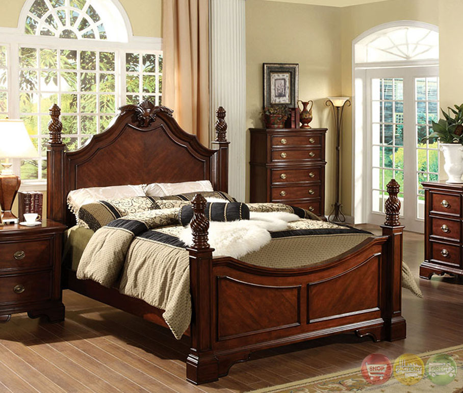 Carlsbad I Formal Dark Cherry Bedroom Set With Ornamental