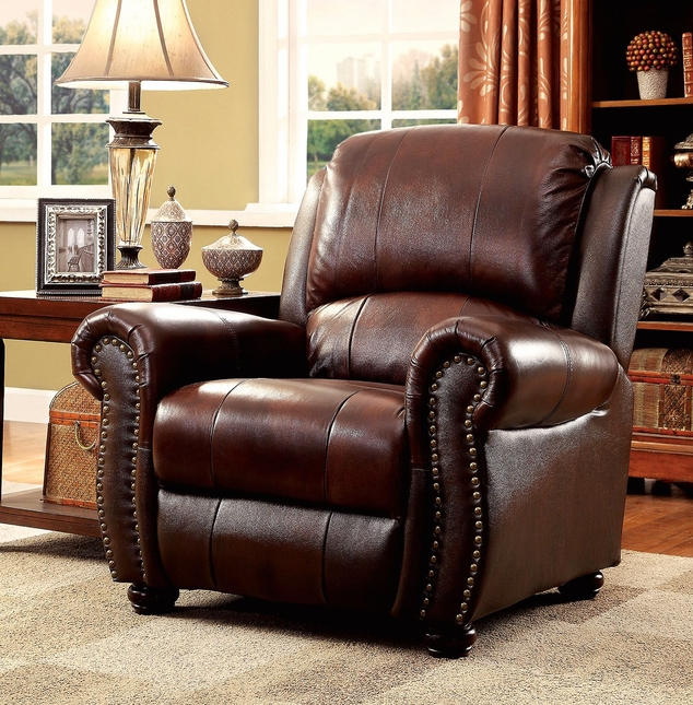 Carlton Traditional Brown Chair In Top Grain Leather