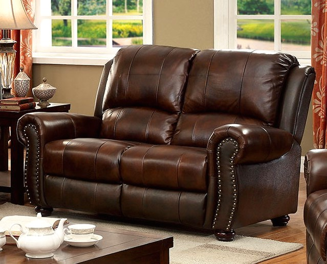 Carlton Traditional Brown Loveseat In Top Grain Leather