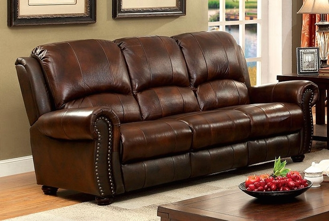 Carlton Traditional Brown Sofa In Top Grain Leather