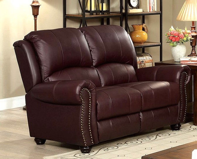 Carlton Traditional Burgundy Sofa Loveseat In Top Grain Leather Nailhead Trim
