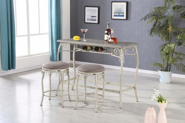 Carly Casual 3-pc Metal & Oak Gray Finished Counter Height Set