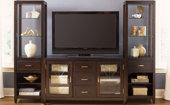 Entertainment Center with Side Curio Cabinets