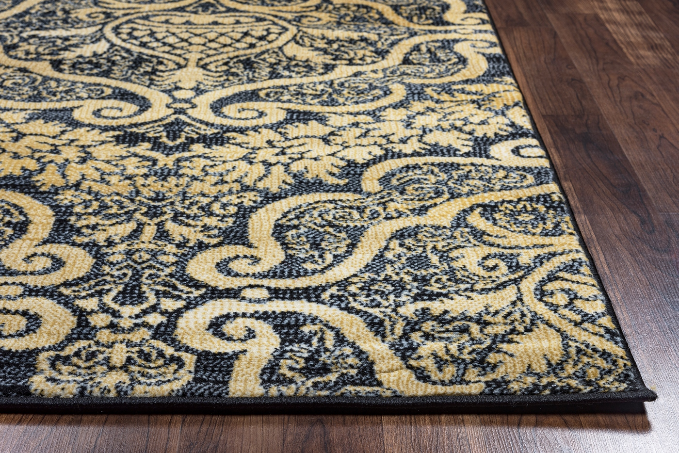 carrington royal ornamental pattern area rug in black. Black Bedroom Furniture Sets. Home Design Ideas