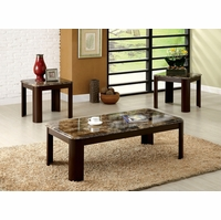 Carson Contemporary Dark Cherry Accent Tables with Faux Marble Table Top
