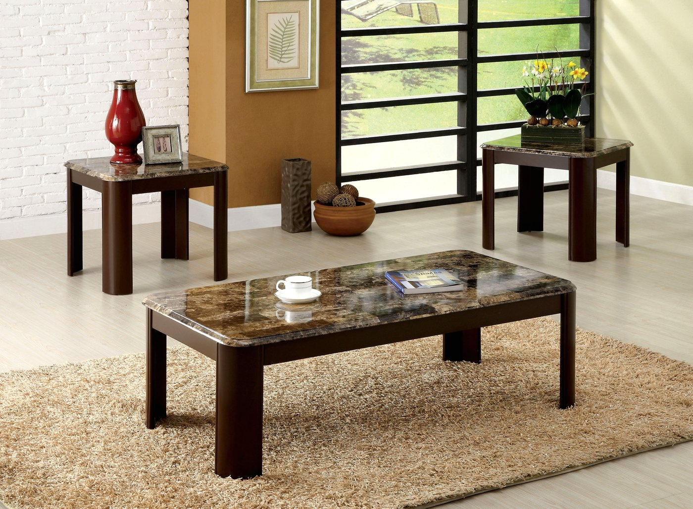 carson contemporary dark cherry accent tables with faux marble table top cm4008