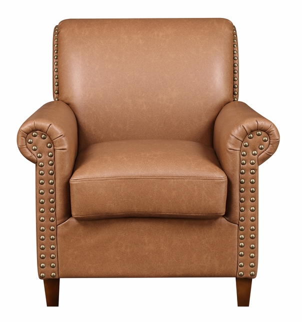 Carthage Roll Arm Accent Chair In Cognac Brown With