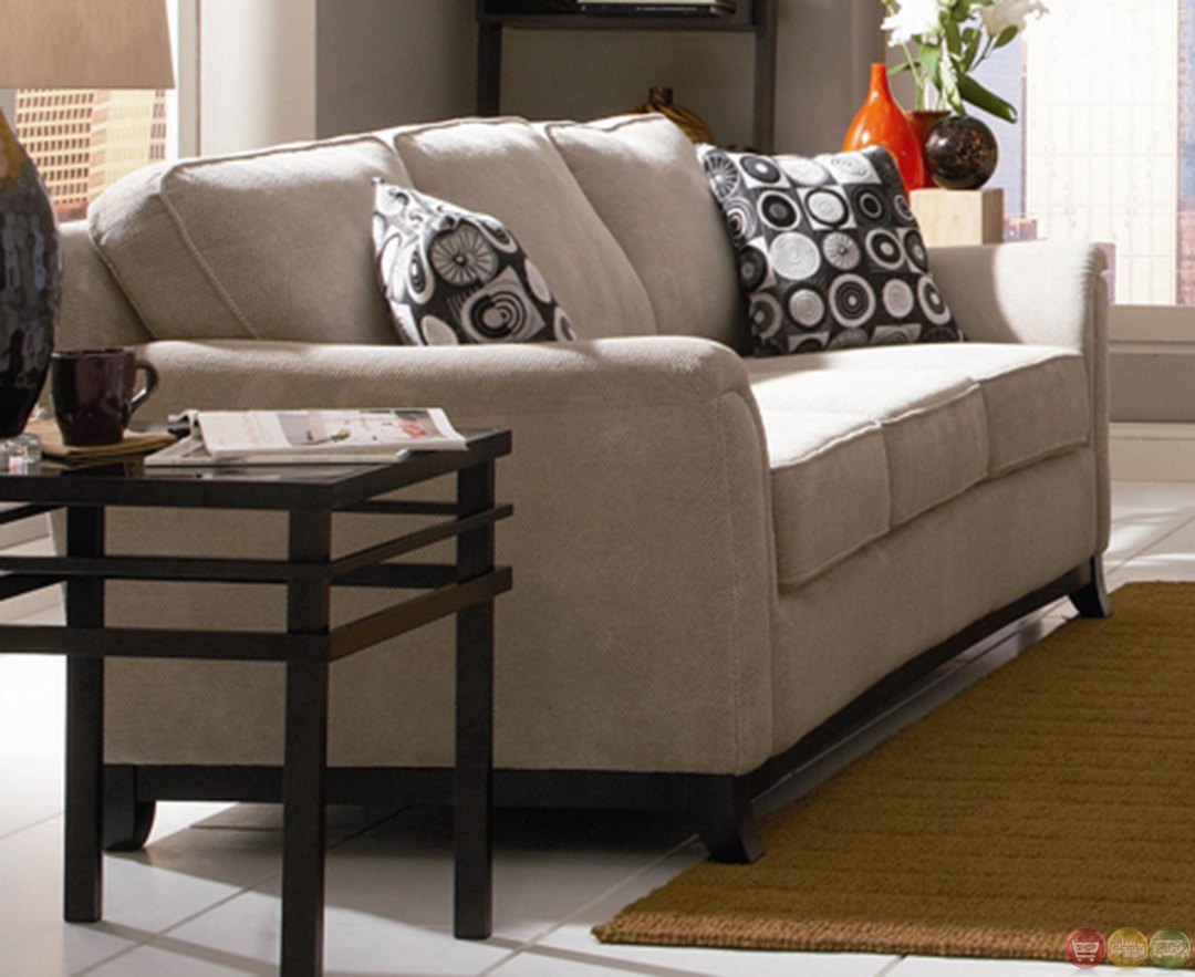 Carver chenille fabric living room sofa and loveseat set neutral color for Living room sofa and loveseat sets