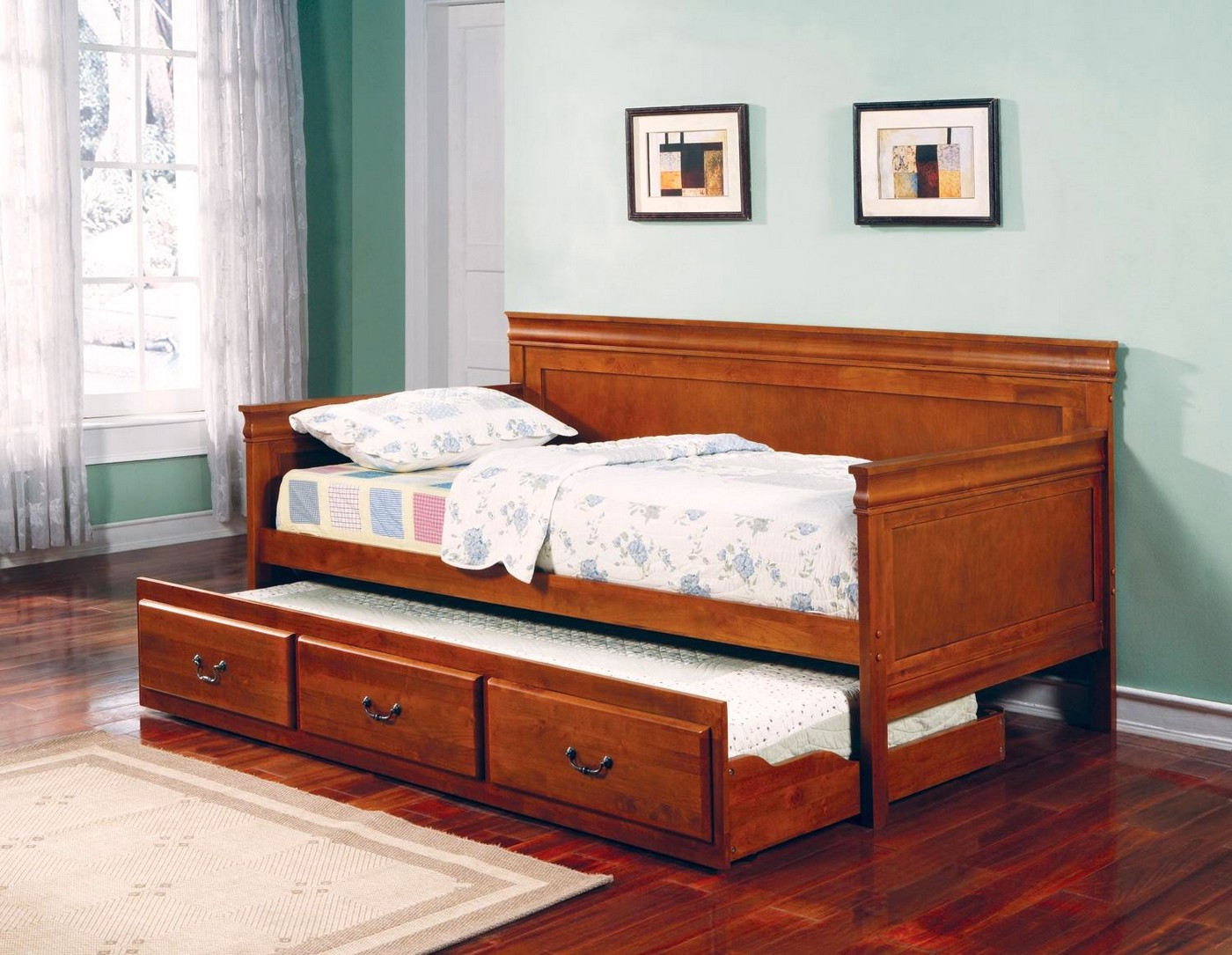 casey oak finish traditional pull out trundle daybed. Black Bedroom Furniture Sets. Home Design Ideas
