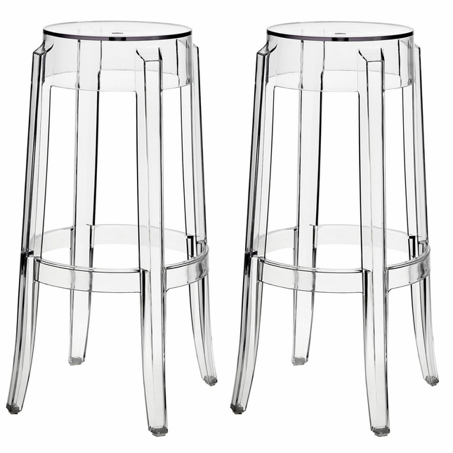 Set of 2, Casper Modern Transparent Acrylic Bar Stool With Foot Stretcher, Clear