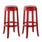 Set of 2, Casper Modern Transparent Acrylic Bar Stool With Foot Stretcher, Red