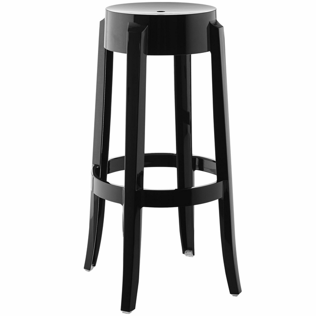 Casper Modernistic Transparent Acrylic Bar Stool, Black
