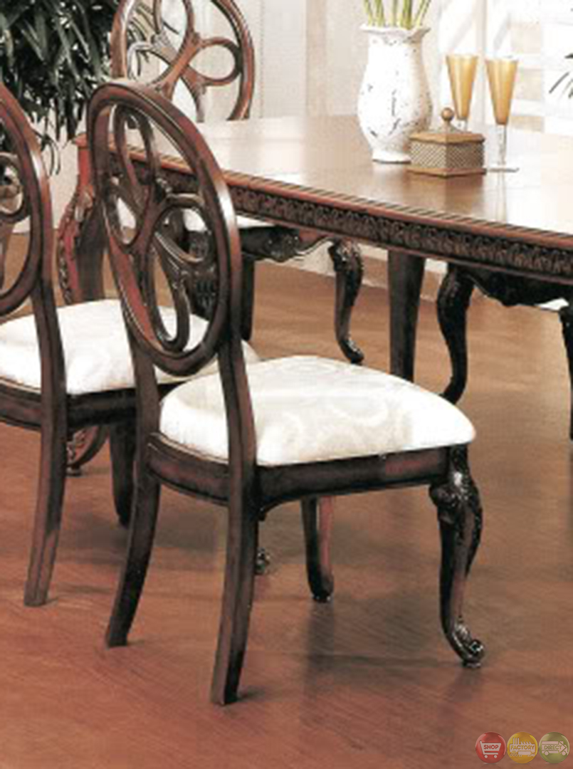 Cassandra deep cherry dining room set with cabriole legs for Cherry dining room chairs