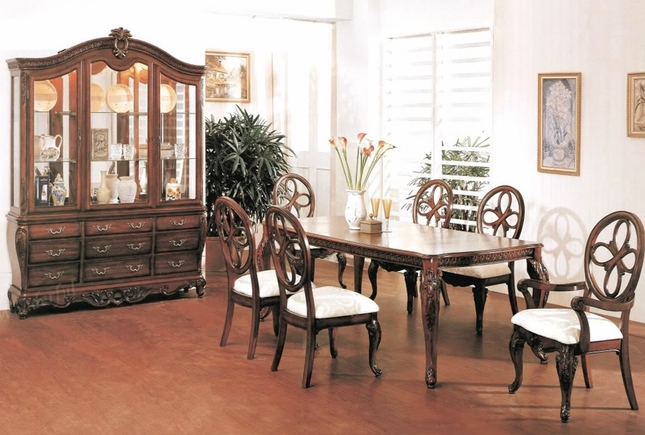 Cassandra Deep Cherry Dining Room Table And Chairs Set