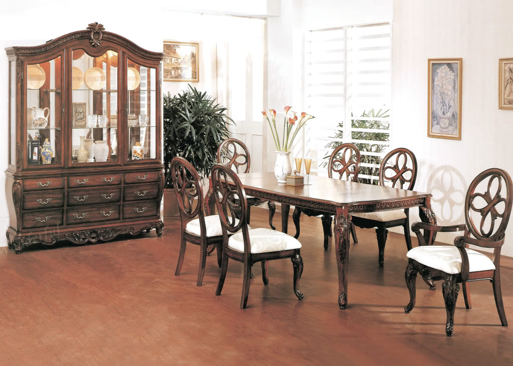 Cassandra deep cherry dining room set with cabriole legs for Traditional round dining room sets