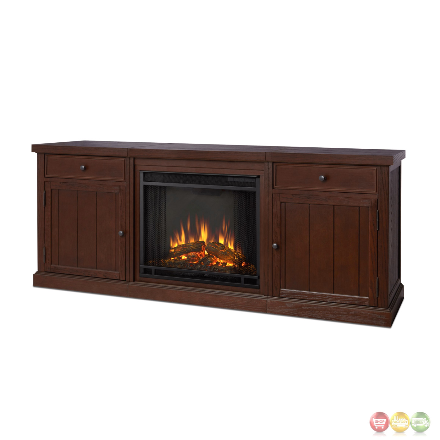 Cassidy Entertainment Center Electric Fireplace In Chestnut Oak 69x28