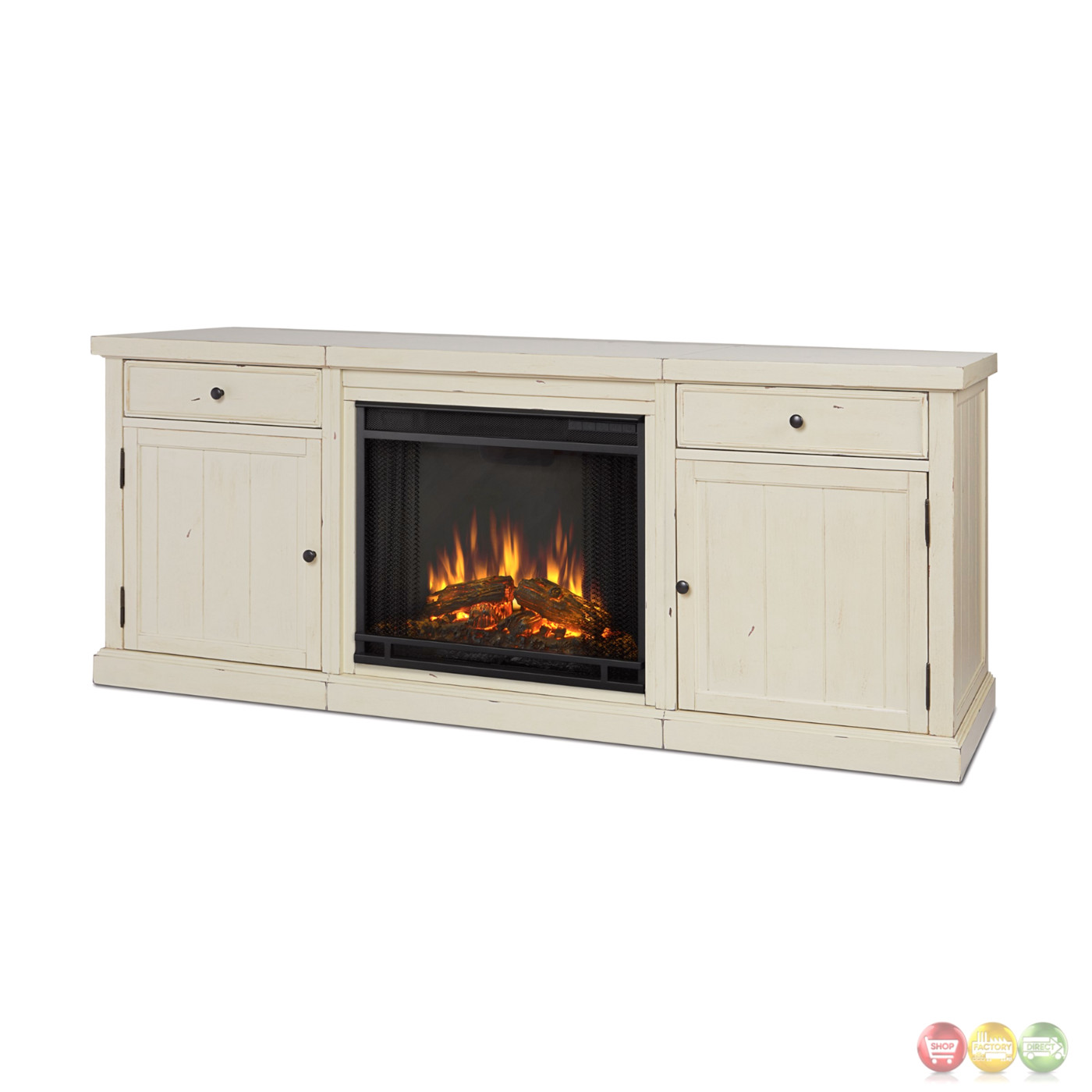 Cassidy Entertainment Center Electric Fireplace In Distressed White 69x28