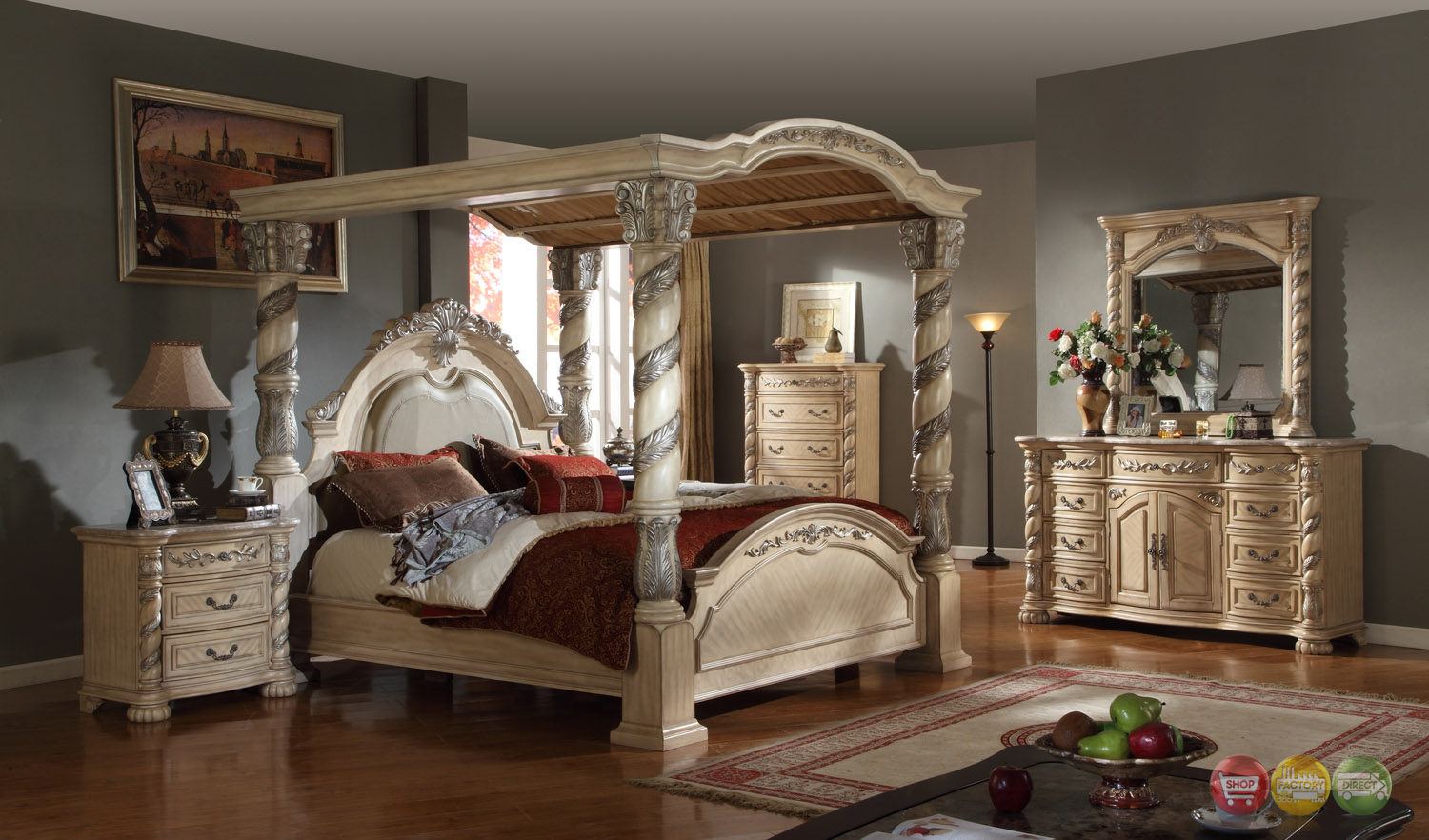 Castillo de cullera canopy bedroom collection antique for Antique bedroom furniture