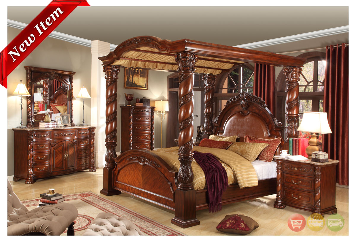 Traditional queen poster canopy bed 5 piece cherry bedroom for Canopy bedroom furniture