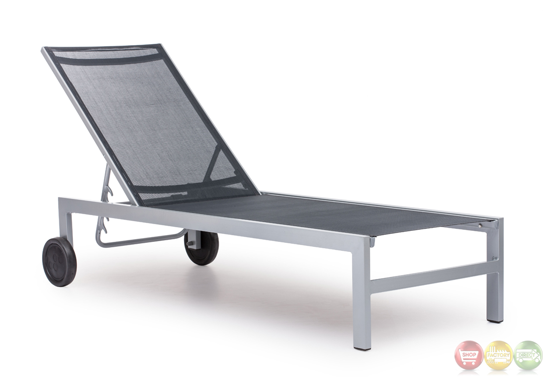 Castle peak black silver chaise lounge zuo modern 703070 for Black chaise lounge outdoor