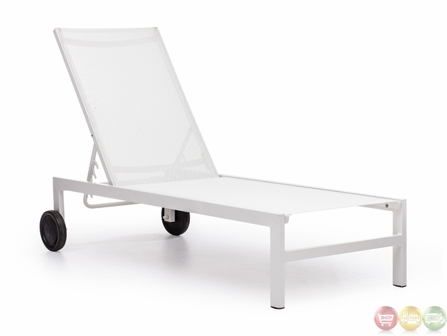 Superieur Castle Peak White Outdoor Chaise Lounge   Zuo Modern   703071