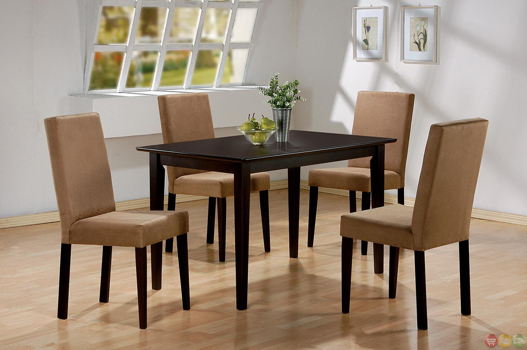 Casual 5 piece microfiber upholstery dining room set for Casual dining room sets