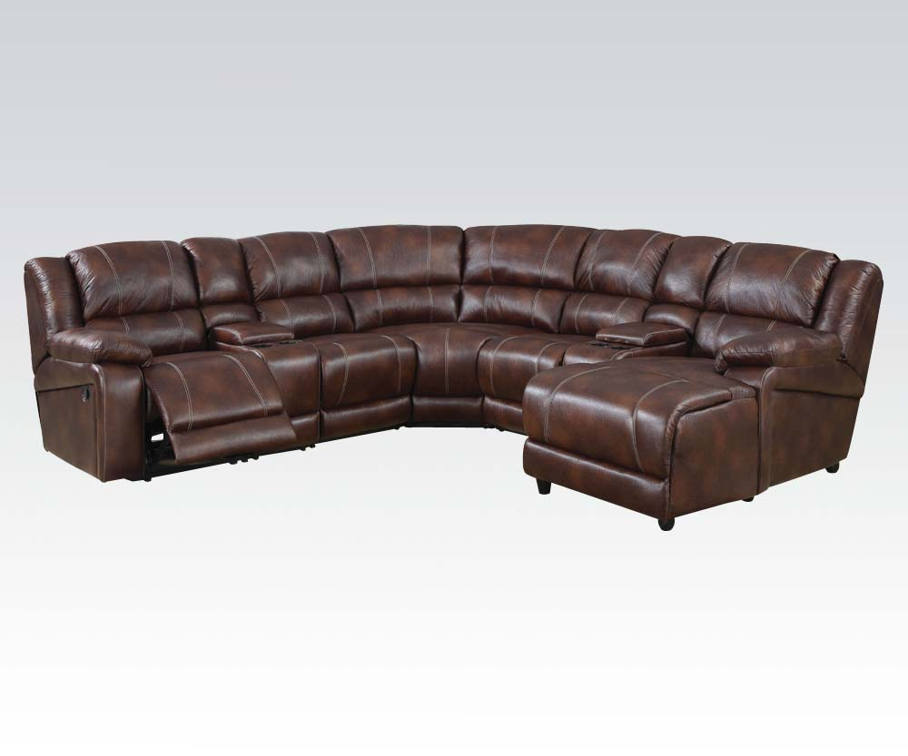 Casual brown 7 piece reclining sectional sofa w storage for Brown sectional sofa with chaise
