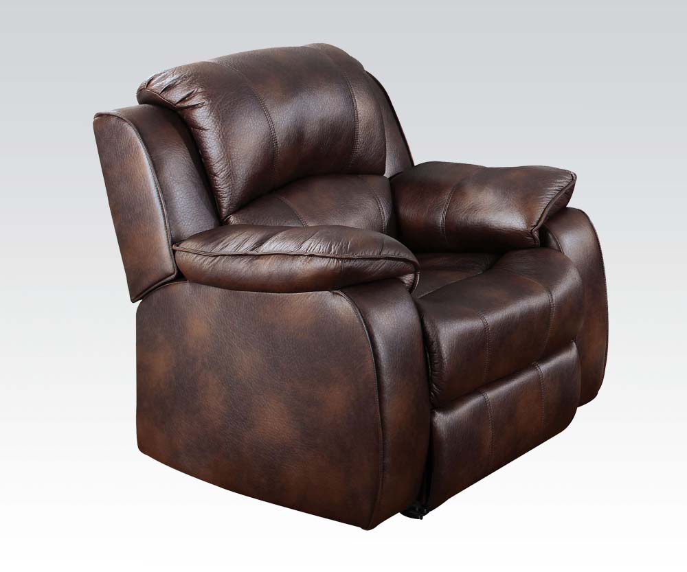 Casual brown 7 piece reclining sectional sofa w storage for Brown leather sectional chaise