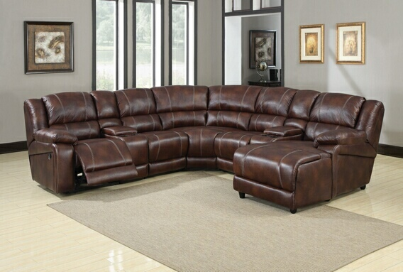 Brown Faux Leather Reclining Sectional Sofa, Storage Console U0026 Chaise ...