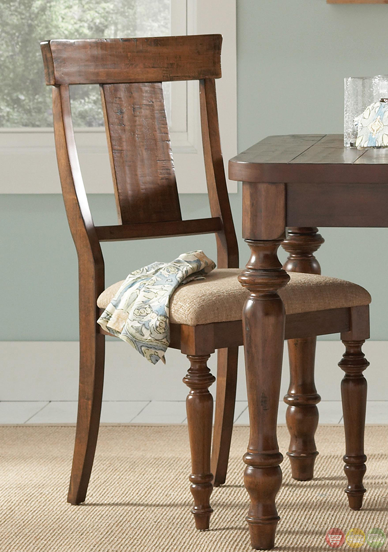 Casual cocoa brown finish turned legs dining table set for Brown dining table set
