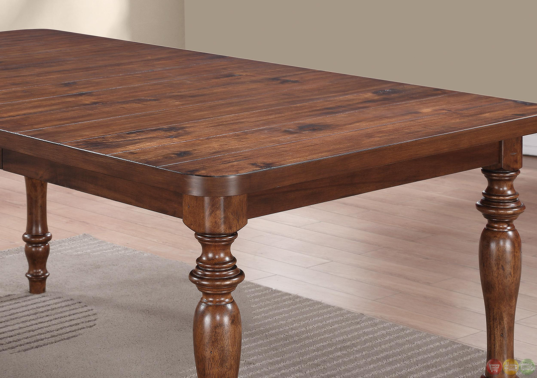 Casual cocoa brown finish turned legs dining table set for Dining table finish