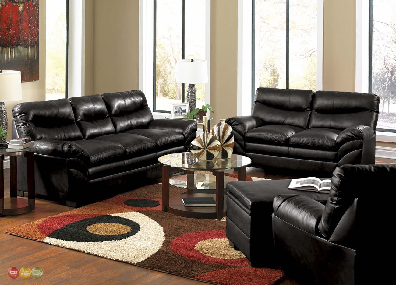Casual contemporary black bonded leather sofa set living room furniture for Living room with black leather furniture