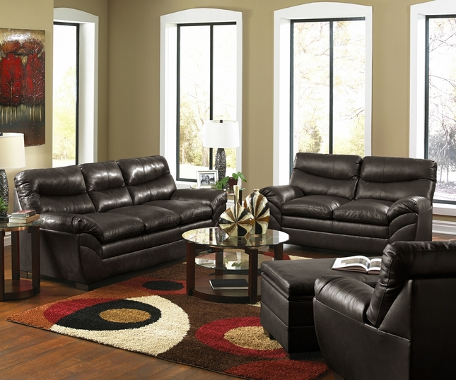 Casual Contemporary Brown Bonded Leather Sofa Set Living
