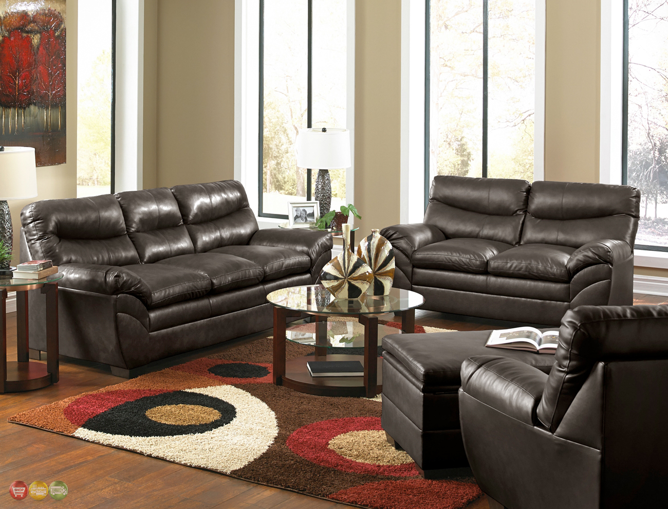 Casual contemporary brown bonded leather sofa set living for Leather living room sets