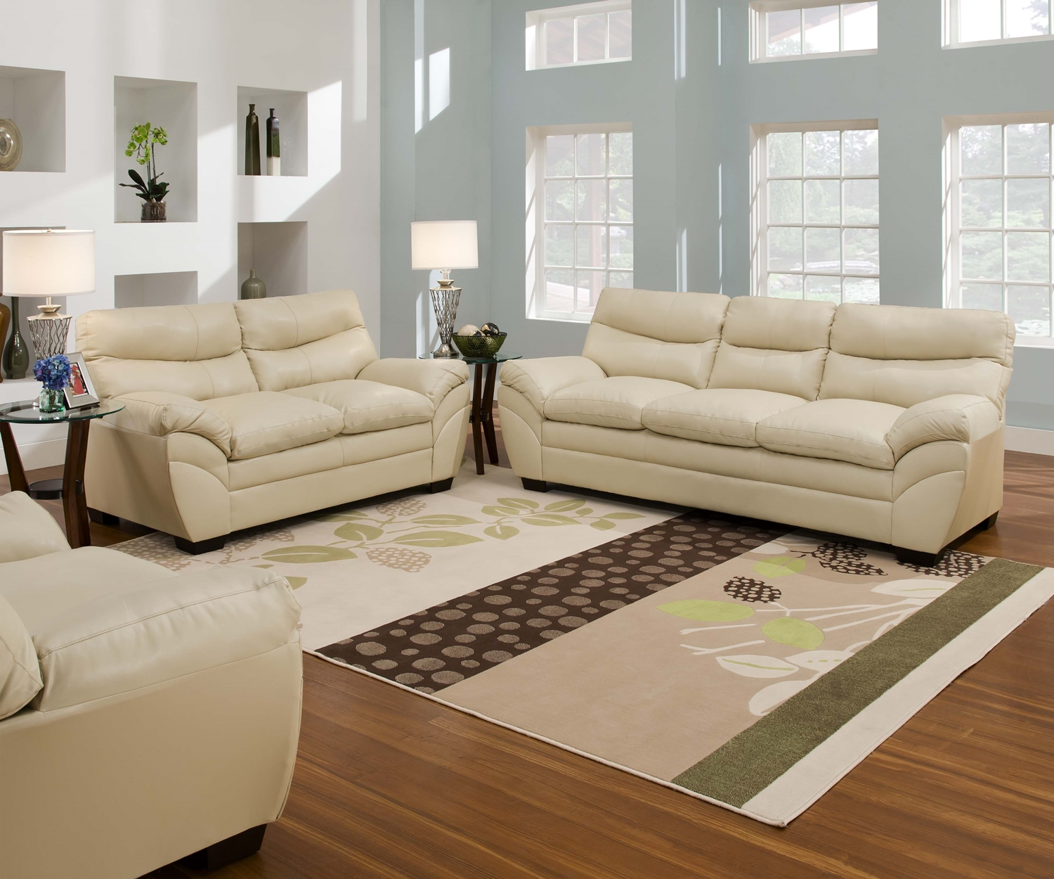 Casual Contemporary Cream Bonded Leather Sofa Set Living