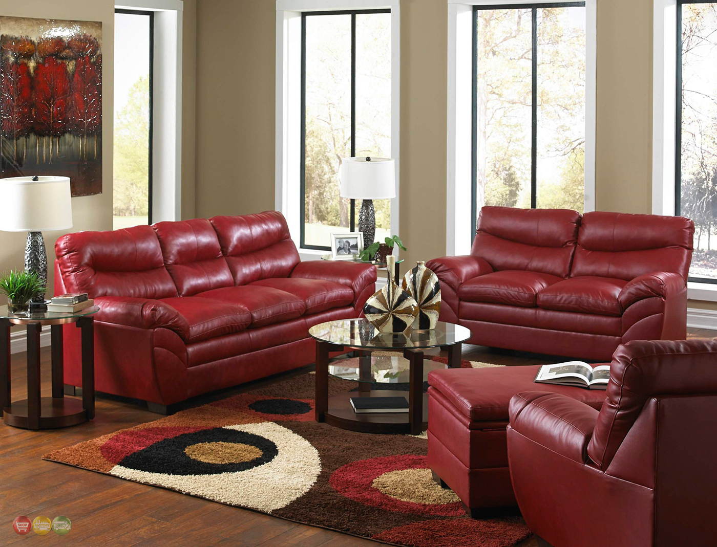 Casual contemporary red bonded leather sofa set living for Family room sofa sets