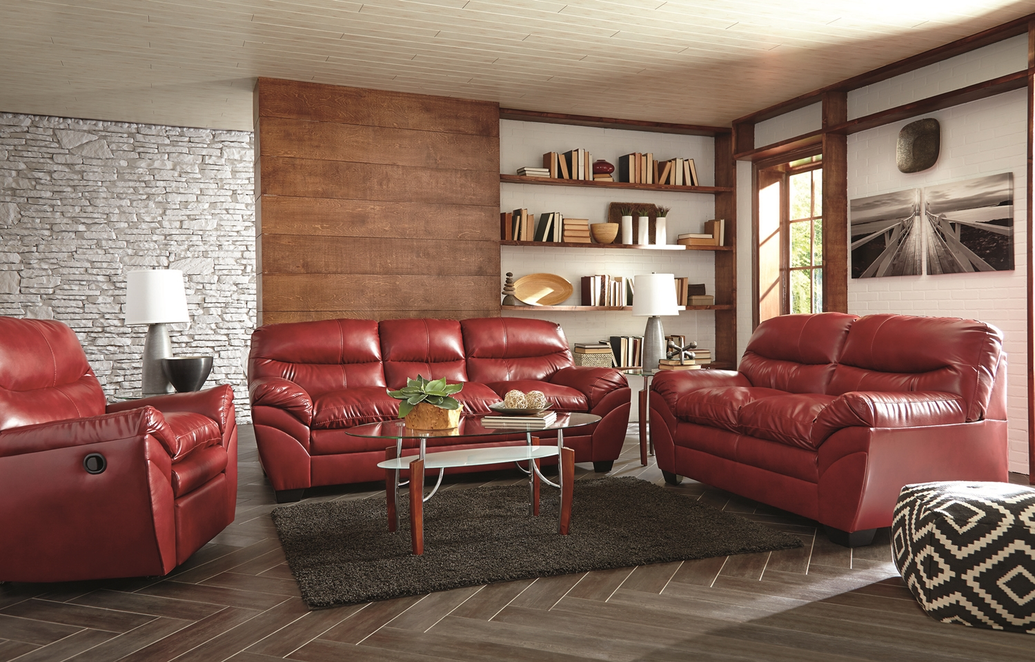 Living Room Furniture: Casual Contemporary Red Bonded Leather Sofa Set Living