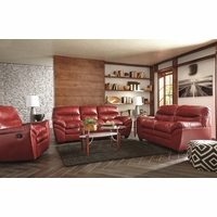 Casual Contemporary Red Bonded Leather Sofa Set Living Room Furniture