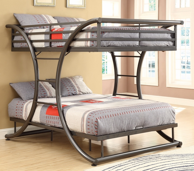 Casual Curved Gunmetal Finish Full over Full Bunk Bed