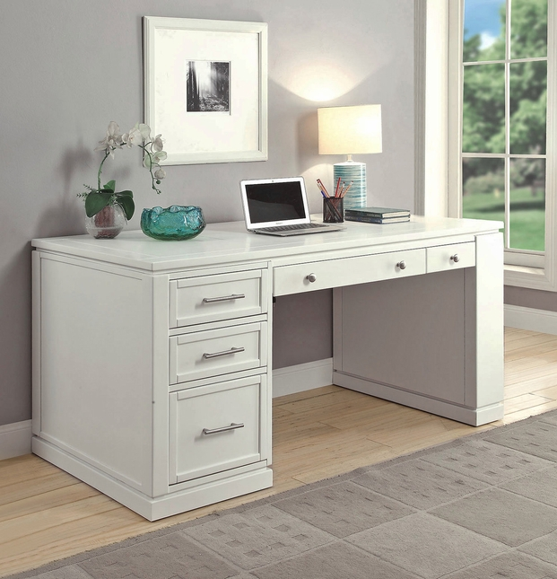 Catalina Coastal 60 Writing Desk With Power Center Usb In Cottage White