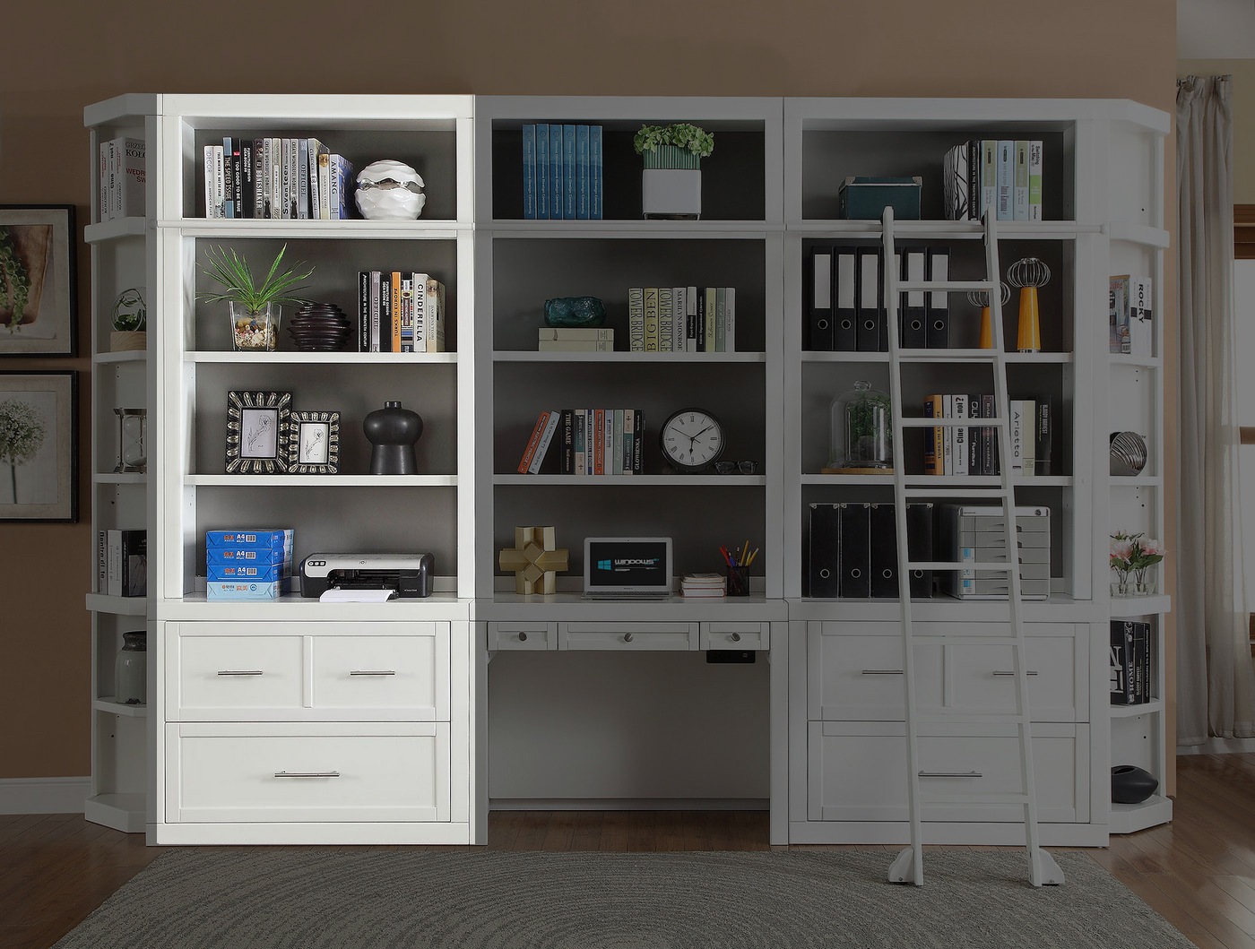 Details About Catalina Coastal Transitional Lateral File Bookcase Hutch In Cottage White