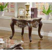Catania Dark Cherry Traditional Marble End Table