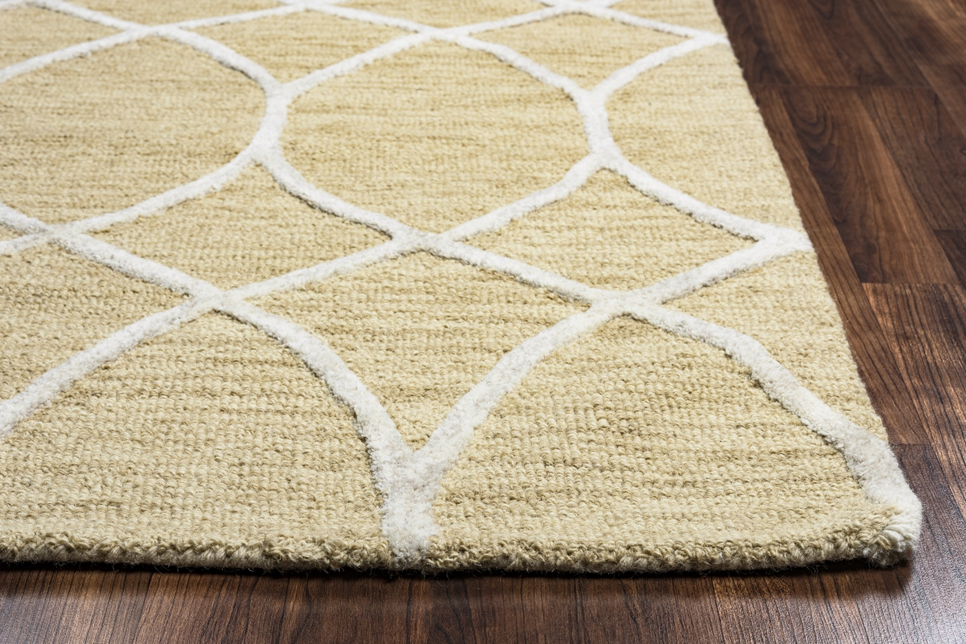 Caterine Embossed Trellis Wool Area Rug In Beige Amp Off