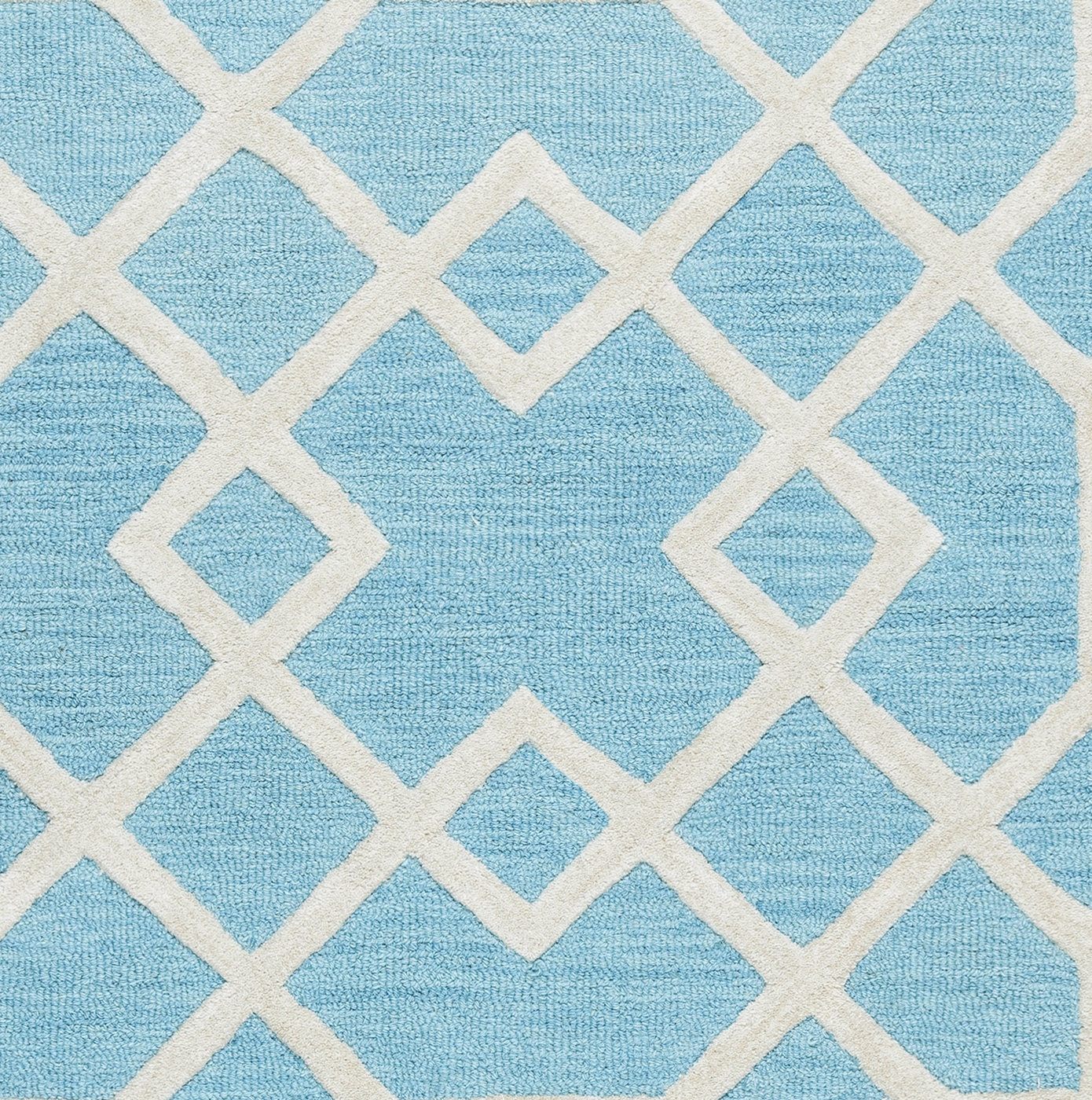 Royal Blue And White Trellis Rug: Caterine Geometric Trellis Wool Area Rug In Blue Off White