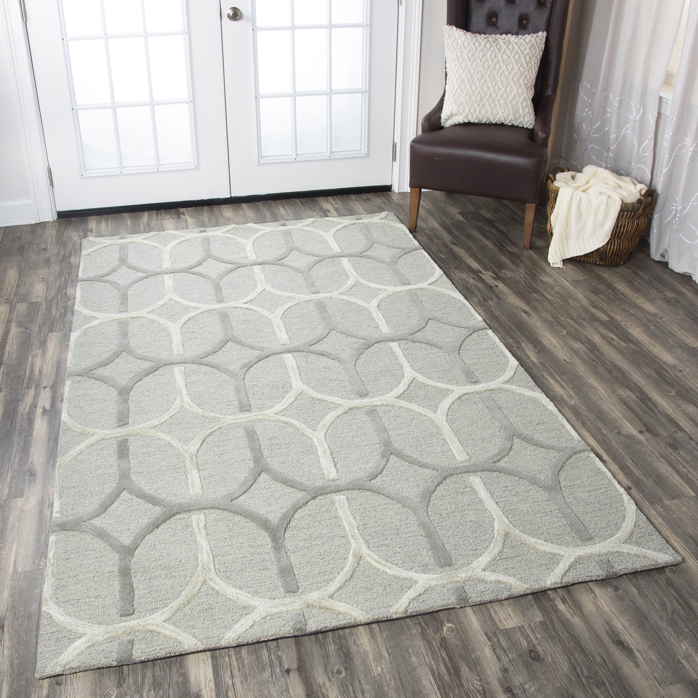 Caterine Oval Pattern Wool Area Rug In Grey & Offwhite, 5