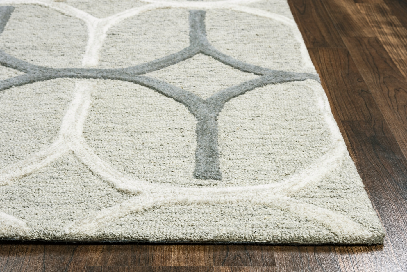Caterine Oval Pattern Wool Area Rug In Grey Amp Offwhite 5