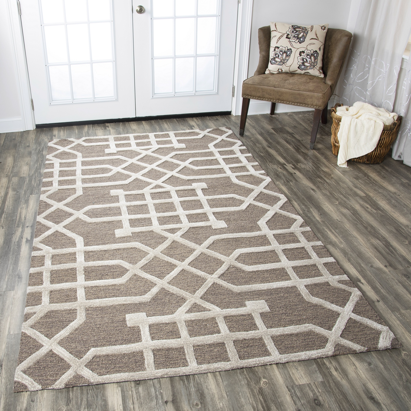 Caterine Trellis Line Pattern Wool Area Rug In Taupe Tan