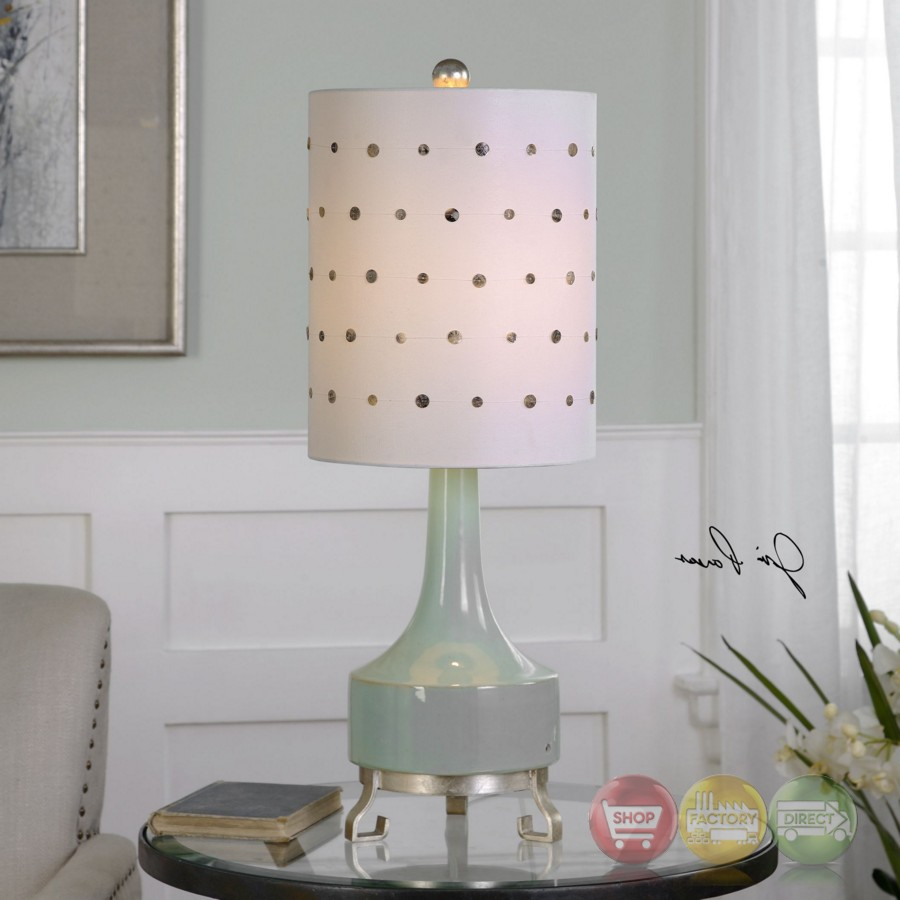 Cayucos Green Table Lamp With Silver Metal Feet And Capiz